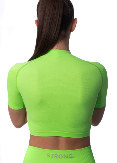 STRONG. - BEZSZWOWY CROP TOP, KRÓTKI RĘKAW (NEON YELLOW-GREEN)