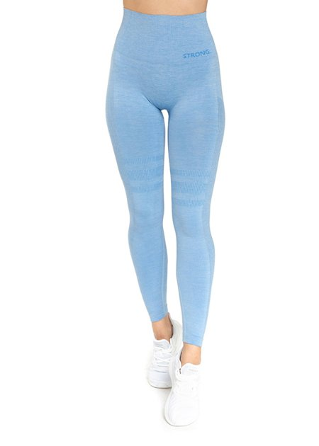 "STRONG. - LEGGINSY BEZSZWOWE ""24H"" BLUE MELANGE (PUSH UP)"