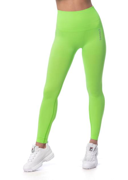 STRONG. - MODELUJĄCE LEGGINSY BEZSZWOWE NEON YELLOW-GREEN (PUSH UP)